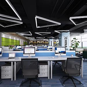 现代工业风办公空间模型
