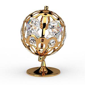 现代金色水晶地球仪模型