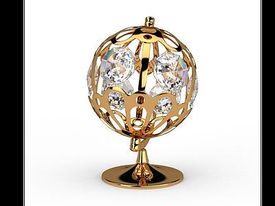 3d現代金色水晶<font class='myIsRed'>地球</font>儀免費模型