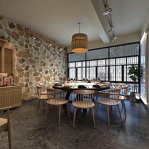 中式餐厅包间模型