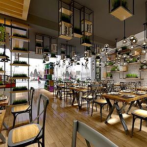 复古工业餐厅3d模型