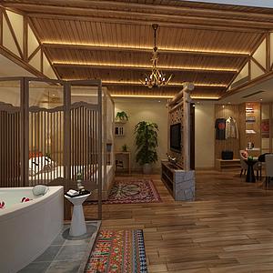 3d日式卧室模型