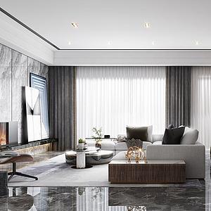 新中式轻奢客厅模型
