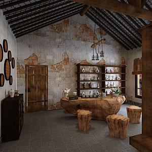 3d仿古式客廳模型