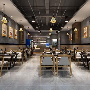 3d現代小餐廳模型