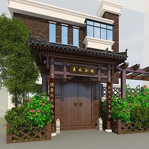 別墅門樓模型