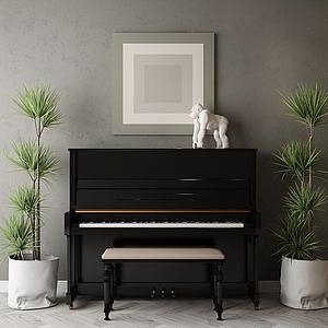 3d家具饰品组合钢琴模型