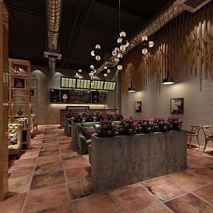 3d仿古式餐廳模型