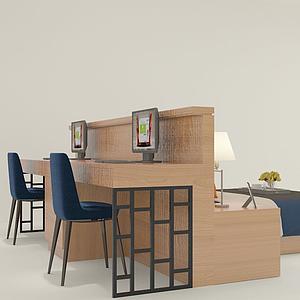 連體書桌床模型
