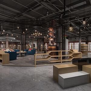 工業風休閑區展廳模型