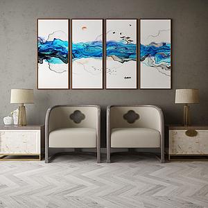 家具饰品组合休闲区模型