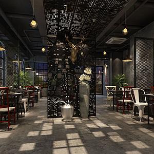 中式餐廳模型
