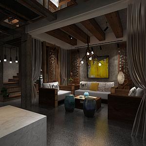 3d仿古客廳模型