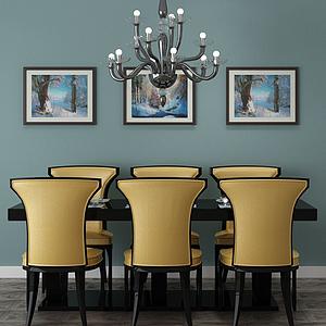 3d餐廳家具飾品組合模型