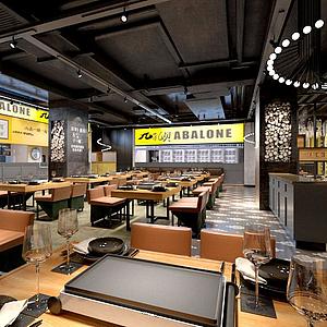 现代经典餐厅模型