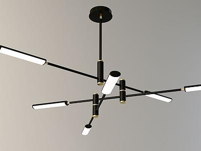 北歐3D現代金屬管吊燈3d模型