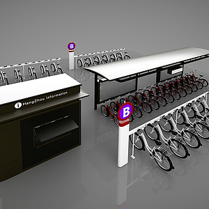 3d現代單車<font class='myIsRed'>停車場</font>模型