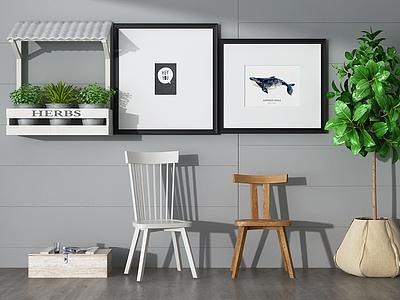 3d椅子壁畫綠植組合模型
