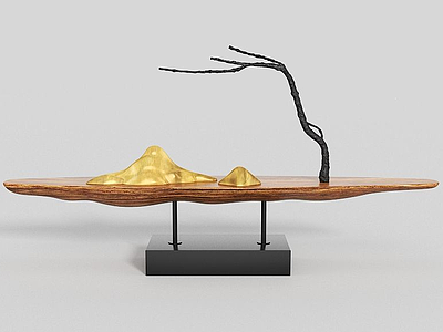 山與樹創意擺件模型3d模型