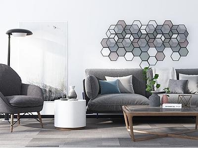 現代簡約沙發茶幾模型3d模型