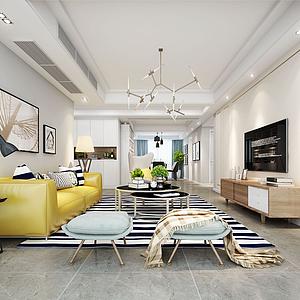 3d現代客廳黃色皮沙發模型
