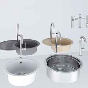 洗菜盆水龍頭五金件組合模型