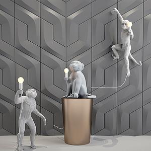 猴子壁燈吊燈落地燈模型