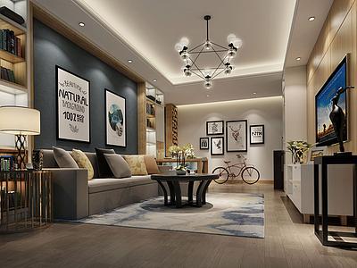 3d新現代客廳模型