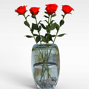 3d玫瑰花插花裝飾模型