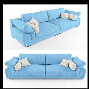 现代休闲?#23478;?#21452;人淡蓝沙发模型