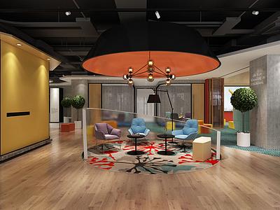 現代辦公室辦公區3d模型