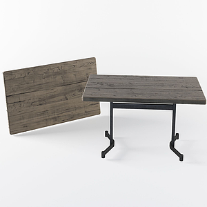 現代實木簡約方桌模型