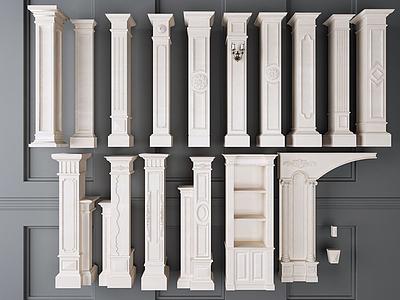 羅馬柱組合模型3d模型