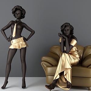 3d黑人美女<font class='myIsRed'>模特</font>模型