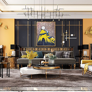 3d后現代客廳模型