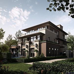室外小区楼盘别墅模型