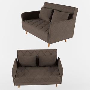 美式簡約棉麻雙人小沙發模型