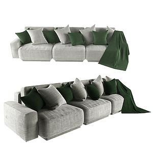 現代布多人沙發模型