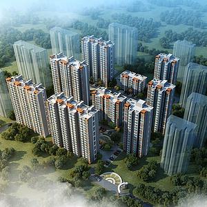 室外建筑商業高樓模型