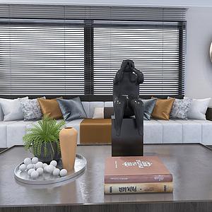 3d簡約客廳長形沙發模型