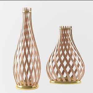 現代編織籠式蠟燭燈模型