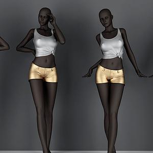 3d黑人<font class='myIsRed'>模特</font>模型