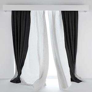 現代布藝窗簾模型