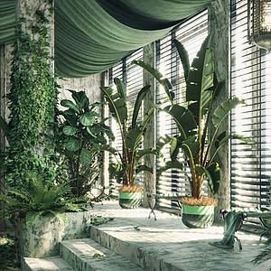 盆栽墻藤綠植組合模型