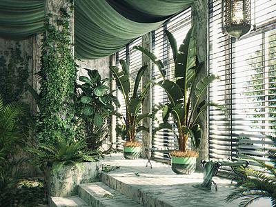 3d盆栽墻藤綠植組合模型