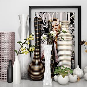 現代花瓶組合模型
