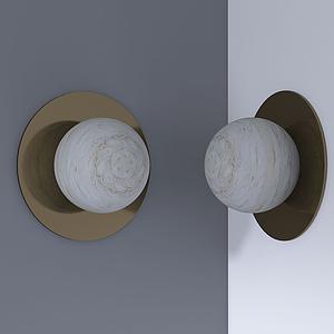現代圓球壁燈裝飾模型