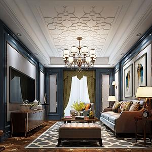 3d日式客厅沙发家具模型