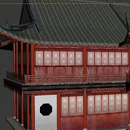 3d古代建筑排樓模型