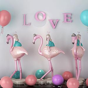 3d<font class='myIsRed'>火烈鳥</font>少女氣球裝飾品模型